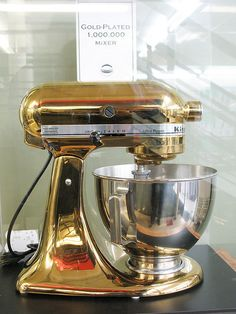 KitchenAid mixer #1,000,000 gold plated by curiouslee, via Flickr