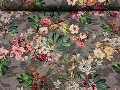 Stoff Blumen -  Sweat Stoff Barock Blumen grau bunt Sommer  - ein Designerstück von lillelykka bei DaWanda