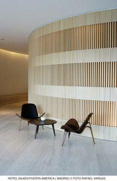 Wood wall from Hotel Puerta de America's lobby by John Pawson