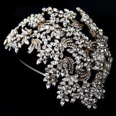Dramatic Gold Crystal Great Gatsby Style Wedding Headband - Affordable Elegance Bridal -