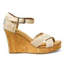Toms Natural Crochet Strappy Women's Wedges