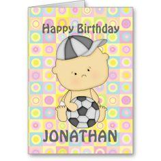 Cute personalised soccer kid  birthday cards
