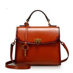 Genuine Leather Handbag Satchel Bag Lock Bag Shoulder Bag Crossbody Bag Clutch Purse For Women