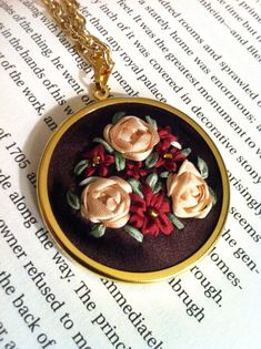 Burgundy and Cream Flower Pendant, Silk Ribbon Embroidery by BeanTown Embroidery