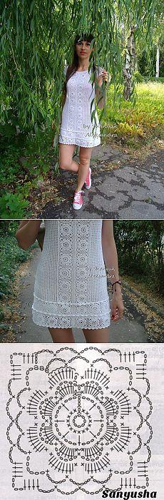 "Летнее платье ""Мотивы лета""... Crochet Chart, Crochet Hooks, Crochet Patterns, Crotchet Dress, Knit Dress, Blouse Dress, Short Skirts, Lace Skirt, Fancy"