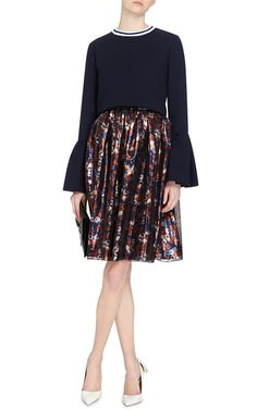 Varden Navy Wool Pleated Sleeve Top  by MOTHER OF PEARL Now Available on Moda Operandi