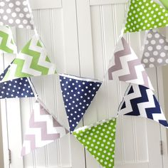 9 Feet Banner 21 Flag Bunting Green Navy by vintagegreenlimited, $32.00