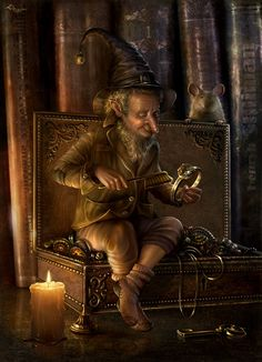 Interesting little creature, maybe a leprechaun shinning his gold.