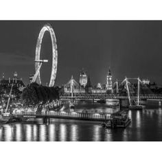 Night shot of river thames with London Eye London UK Canvas Art - Assaf Frank (18 x 24)