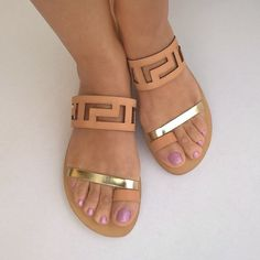 CODE 247 :::::::::::::::::::::::::::  meander leather handmade sandals 100% leather upper and lower sole  the sole is slip resistant Wearing