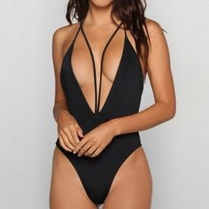 43afea8585 New Fashion Women Sexy Halter V-Neck One-piece Swimwear Pure Color Slim  Monokini