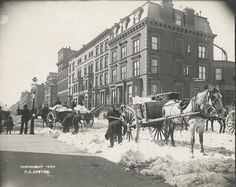 Snow Removal the Old Fashioned Way.  New York during the blizzard of 1888.