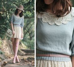 The skirt would preferably be closer to knee length, but the whole image is so soft and lovely