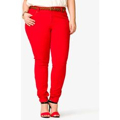 FOREVER 21+ PLUS SIZES Skinny Twill Pants w/ Braided Belt ($25) ❤ liked on Polyvore