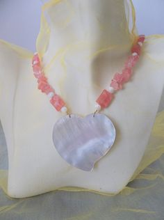 White Mother of Pearl Heart and Cherry Quartz by ShadowoftheCross