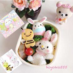 bunny & honey bee bento
