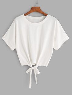 Shein Tie Front Crop T-shirt