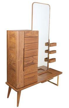 Lemari A Dresser With Large Storage Contemporary, Mirror, Wood, Dresser by Alankaram
