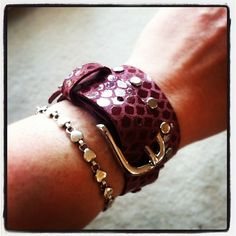 Ruby dragon print double wrap leather bracelet