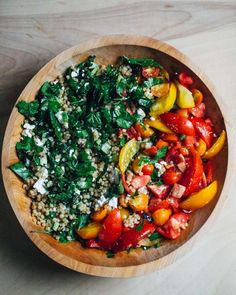 toasted pearl couscous salad with tomatoes and greens Pearl Couscous Salad, Salad Recipes, Healthy Recipes, Chard Recipes, Vegetable Recipes, Yummy Recipes, Dinner Recipes, Grilled Vegetables, Veggies