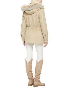-5GB9 Loro Piana Cashmere Storm Jacket with Fox Fur Hood, Chevron Striped Mink Fur Vest, Cashmere Fine-Knit Sweater with Suede Elbows & Riding Pants