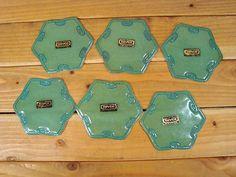 Vintage Nevco Green Soft Plastic Drink Coasters Bar Set 6 | eBay