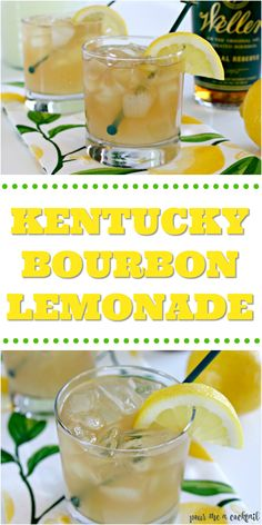 Kentucky Lemonade - Bourbon Cocktail Recipe - Mom 4 Real This Kentucky Lemonade Cocktail Recipe is the perfect cocktail recipe for the summer! Lemonade Cocktail, Cocktail Drinks, Cocktail Recipes, Whiskey Lemonade, Alcoholic Lemonade Drinks, Lynchburg Lemonade, Alcoholic Shots, Alcoholic Desserts, Margarita Recipes