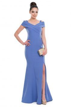 Uzun Mavi Abiye Elbise C7027