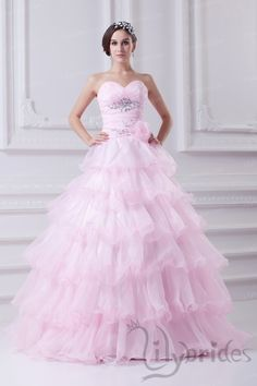 Ball Gown Sweetheart Satin Organza Crystal Flounce Quinceanera Dress