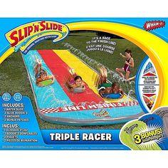 Slip Slide Triple Racer Backyard w/ 3 Bonus Boogies Inflatable Kids Water Toy #WhamO