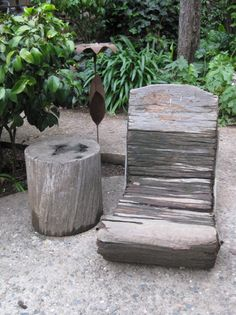 i'd like it to be 75 degrees, and i'd like to be outside with a sierra nevada, a good book, and this chair. Tree Stump Furniture, Tree Stump Table, Outside Living, Outdoor Living, Kitsch, Vintage Outdoor Decor, Potting Tables, Outdoor Play Spaces, Outside Furniture