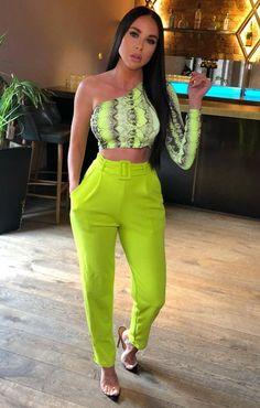 6a2003de2eba Lime Belted Tapered Cigarette Trousers - Molly Cigarette Trousers, Snake  Print, Lime, One