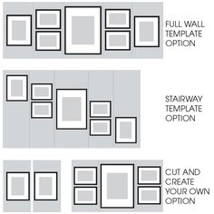 Gallery Perfect 7 Piece Black Photo Frame Wall Gallery Kit with Decorative Art Prints & Hanging Template Gallery Wall Layout, Gallery Wall Frames, Frames On Wall, Framed Wall Art, Photo Wall Layout, Picture Frames On The Wall Stairs, Picture Wall Staircase, Picture Wall Collage, Picture Walls