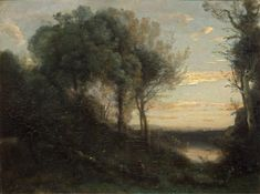 Evening by Jean-Baptiste Camille Corot - Landscape Paintings from Hermitage…