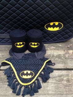 Batman Logo Embroidered Set Saddle Pad Polo by TheHoundstoothHorse, $95.00