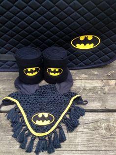 Batman Logo Embroidered Set Saddle Pad Polo by TheHoundstoothHorse, $95.00