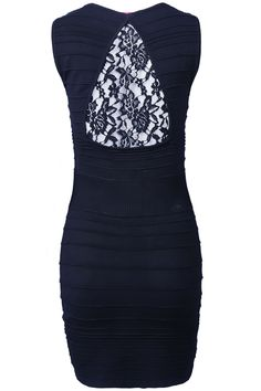 Black Sleeveless Back Lace Bandage Dress