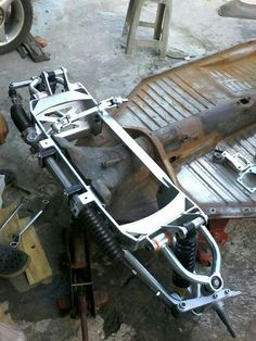 Custom front suspension for a right hand drive bug...