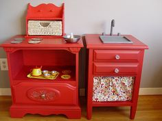 Up-cycled nightstands turned into kitchen set for a child.