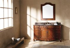 """Saint James 60"""" Single Sink Bathroom Vanity Cabinet - Cherry Finish - Tropical Brown Granite Countertop - For a classic look, the Saint James collection is beautifully crafted. The detailed carvings on this collection create a unique look that adds precision to your bathroom."""