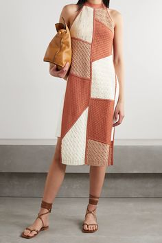 Orange Wendi patchwork stretch-knit and crocheted cotton-blend tunic | NANUSHKA | NET-A-PORTER Dress Trousers, Mid Length Dresses, Brown Fashion, Crochet Clothes, Crochet Outfits, Simple Outfits, Boho Outfits, Daily Wear, Fashion News