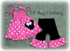 Custom Boutique Clothing Hot Pink and White by LilBugsClothing, $42.00