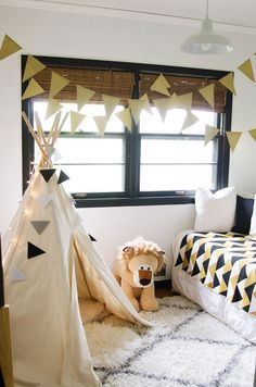 Black and white kids room with gold accents   An Interior Stylist's Glam Midwest Remodel   The Everygirl