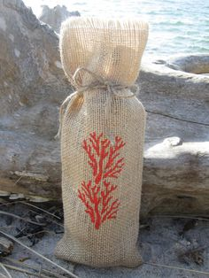 Burlap Wine Bag with hand stenciled coral by sewfancy1 on Etsy, $8.00