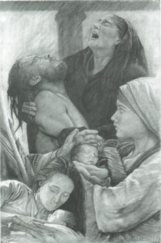 """""""The Presentation""""  This moving and original print by artist Dale Meitl depicts the Mother presenting Jesus at birth, to the Lord at the temple and at Calvary.      Fine quality art print with a finished size of 16″ x 20″ and is exclusively distributed by Distant Shores Apparel $48.00"""