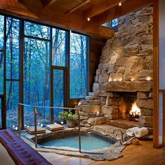 indoor Jacuzzi with fireplace--cozy! Tiny Homes, New Homes, Interior And Exterior, Interior Design, House Goals, My Dream Home, Future House, Beautiful Homes, Home Goods