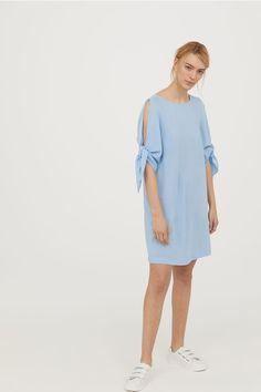 Šaty s vázačkou na rukávu - Bleděmodrá - ŽENY | H&M CZ 2