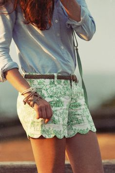 Scalloped Detail on Shorts | Classy Girls Wear Pearls: East Chop Lighthouse