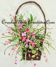 Flat Wall Basket With Tulips