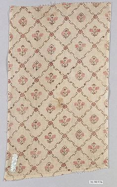 Piece Date: late 18th century Culture: possibly French Medium: Cotton Dimensions: L. 11 x W. 6 1/2 inches 27.9 x 16.5 cm Classification: Textiles-Printed Credit Line: Gift of The United Piece Dye Works, 1936 Accession Number: 36.90.926